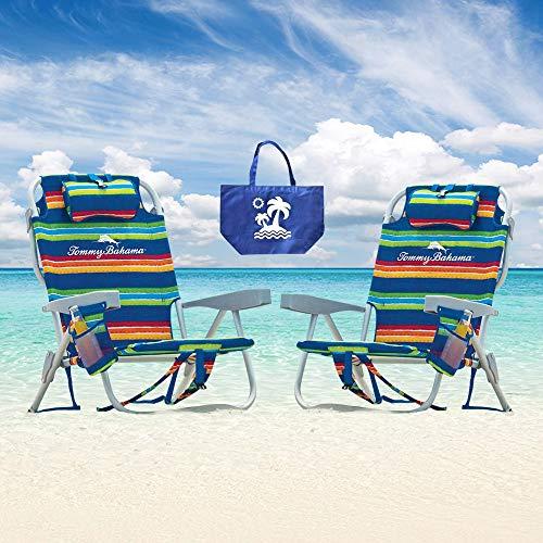 Tommy Bahama Rucksack/Strandstühle, 2 Stück, Rot/Weiß/Blau gestreift + 1 mittelgroße Tragetasche
