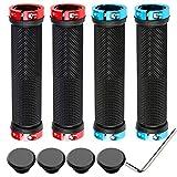 QitinDasen 2 Pares Premium Puños Bicicleta, Puños Manillar Antideslizante Ergonomicos, Empuñadura BMX, Puños MTB, Protector Manillar Bicicleta, para Mango de Diámetro 22mm (Azul + Rojo)