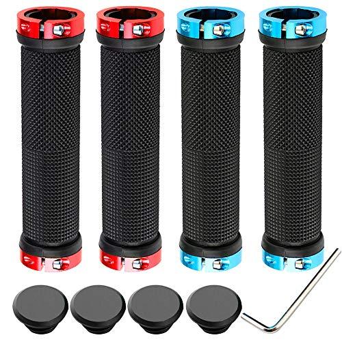 QitinDasen 2 Paia Premium Impugnature Bici, Ergonomici Manubrio Bicicletta, Maniglia Gomma Antiscivolo, Doppio Serratura in Alluminio, Impugnature Bici per Diametro Esterno di 22mm (Blu, Rosso)