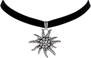 German Dirndl Black Velvet Choker Necklace with Edelweiss for Oktoberfest