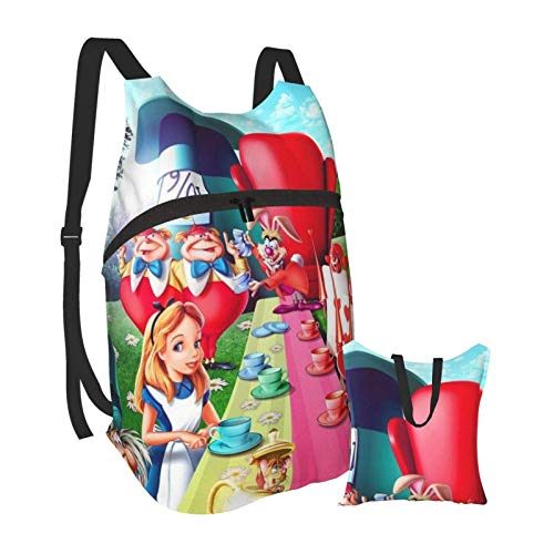 Alice im Wunderland Faltbarer tragbarer Rucksack Lässige, leichte Tasche Wasserdichtes HighCaity-Reisecamping für Rucksäcke von College-Studenten