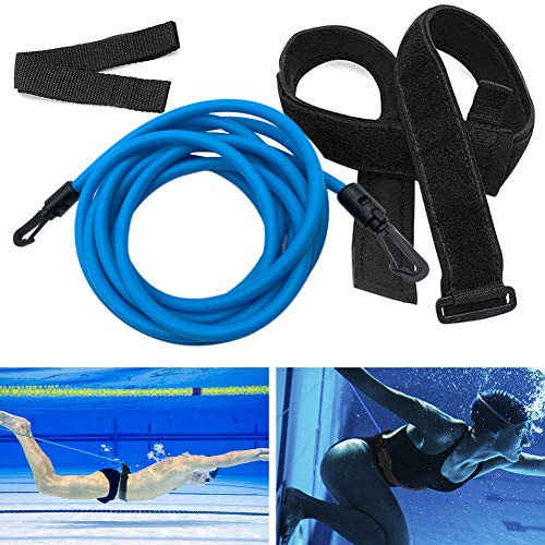 Kenoucle Swim Training Belts, 4M Swim Bungee Cords Resistance Bands Swim Tether Stationary Swimming, Swim Harness Static Swim Training Leash (Blue, 6mm10mm4m)