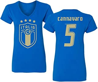 Tcamp Soccer Legends #5 Fabio CANNAVARO Jersey Style Womens Vneck T-Shirt