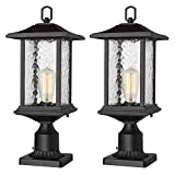 Beionxii Outdoor Post Lights | 2 Pack Exterior Pillar Lantern Pole Lamp with 3' inch Pier Mount Base, Sand Textured Black Cast Aluminum with Water Glass (8'W x 20.5'H) - A272P-2PK