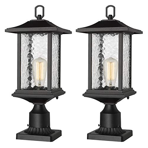 Beionxii Outdoor Post Lights | 2 Pack Exterior Pillar Lantern Pole Lamp with 3