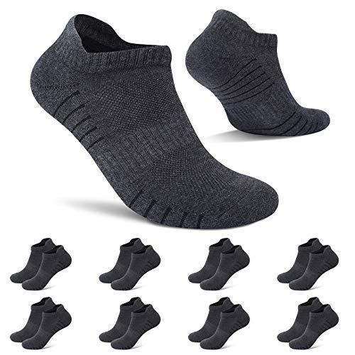 TUUHAW Sneaker Socken Herren Damen Gepolsterte Laufsocken 8 Paar Kurze Sportsocken Outdoor Söckchen Dunkelgrau 43-46