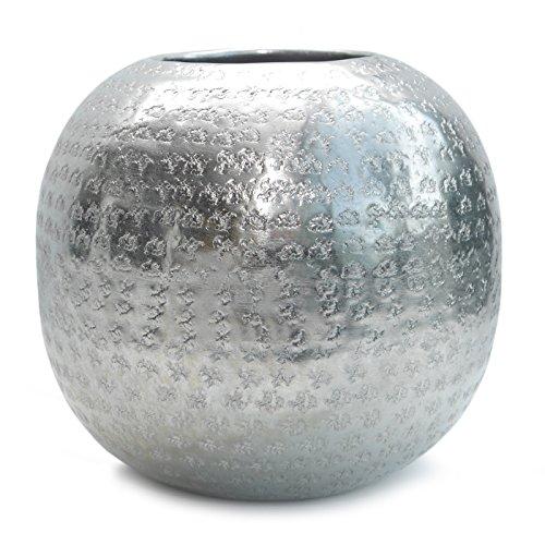 Werner Voss Vase Aluminium gehämmert | Kugelvase Metall Silber | Dekovase modern skandinavisch Wohnen