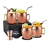 Moscow Mule Mugs Set of 4, 16 oz HandCrafted Food Safe Beer Copper Mugs Cocktail Tumbler Cups, Great Gift Set with 4 Copper Straws ,1 Jigger and 4 Coasters