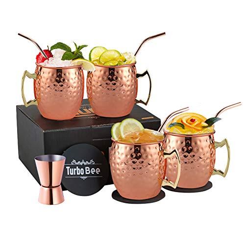 Moscow Mule - Juego de 4 tazas de cobre hechas a mano de 463 ml, para cerveza, de cobre, ideal como regalo con 4 pajitas de cobre, 1 jigger y 4 posavasos