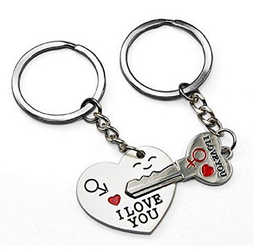 """2llaveros con diseño de corazón y llave separables, mensaje """"I Love You"""", para parejas, B2"""