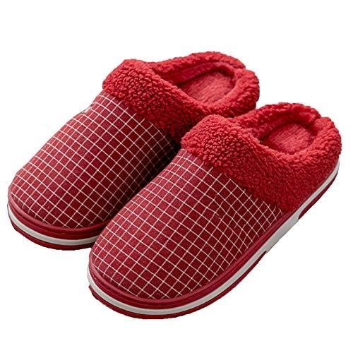 DALLL Winter Hausschuhe Damen,Bequeme Pantoffeln Für, Utschfeste Outdoor/Indoor,Rutschfestes Warmes Material,Rot,7.5/8