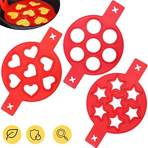 Silikon Pfannkuchenformen mit 7 Löchern,KIPIDA Pancake Form,Nonstick Silikon Ei Ring Pfannkuchen Form,Omelett Eierring,Wiederverwendbare Backformen,Geschmacklose Omelett DIY Backform Ei/Spiegelei 3PC