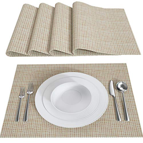 Cherero Placemats, 18' x 12'Woven Vinyl Placemats, Heat-Resistant Placemats Stain Resistant Anti-Skid Washable Table Mats, Set of 4(Linen)