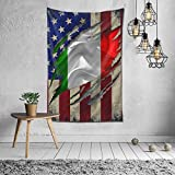 FsszpZZ Wall Hanging Tapestry Italian American Flag USA Flags Tapestries Throw Tablecloth Tapestry for Bedroom Living Room Dorm Room Home Decor 60 X 40 Inches