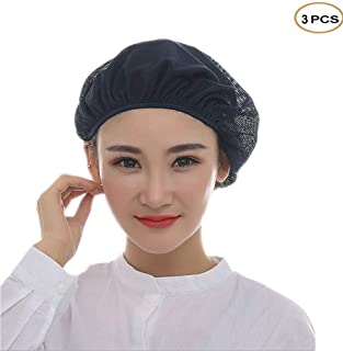 Pack of 3 Unisex Mesh Hat Kitchen Catering Cooking Working Breathable Headwear Cap Hair Net with Elastic Band (3PCS of navy blue, Elastic)