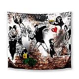DekoArte TP28 - Arazzo da Parete Moderna Stampa Artistica Digitale | 100% Poliestere Decorazione in Tessuto per Soggiorno o Camera da Letto | Arte Urbana Graffity Banksy Stile | 150x130cm