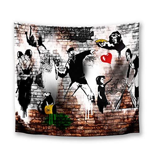 DekoArte TP28 - Tapiz Moderno De Pared Impresión Artística Digitalizada   Tela poliéster 100% decoración para Tu Salón o Dormitorio   Arte Urbano Estilo Graffiti Bansky   150 x 130 cm