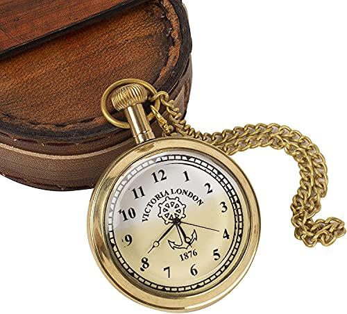 Reloj de bolsillo hecho a mano de latón antiguo vintage con cadena y funda de cuero para coleccionistas náuticos, exhibición de 5 cm clásico regalo de graduación de cumpleaños para hombres y mujeres