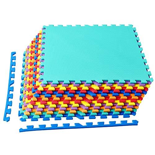 COSTWAY Schutzmatte 12 Stück, Puzzlematte je 60x60x1,2cm, Bodenschutzmatte aus Eva, Spielmatte schadstofffrei für Baby und Kinder, Bodenmatte Fitnessmatte Gymnastikmatte inkl. 24 Randstück (Bunt)