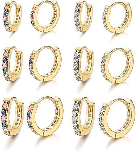 Milacolato 6 pares Pendientes Aros Huggie para Mujer Pendientes de Circonita Cúbica Rainbow CZ Colores Pendientes de Piercing de Hélice Tragus de Cartílago Pequeño Multicolor
