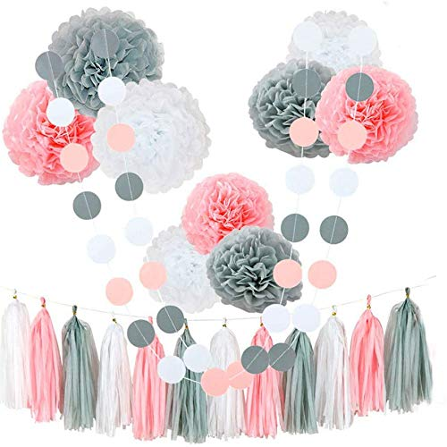 Casinlog 23Pcs Tissue Paper Flowers Pom Poms Party Girl Decorations Tassel Garland for Wedding Bridal Shower Graduation Bachelorette Celebrate Graduate Supplies(Pink+White+Grey)