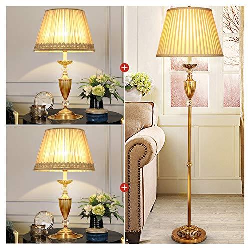 UQY Lámpara de pie de pie con barra de pie y luz de pie, lámpara de estudio de estilo europeo, lámpara de mesa de cobre regulable, retro, creativa, mesa-A * 2 + piso-A