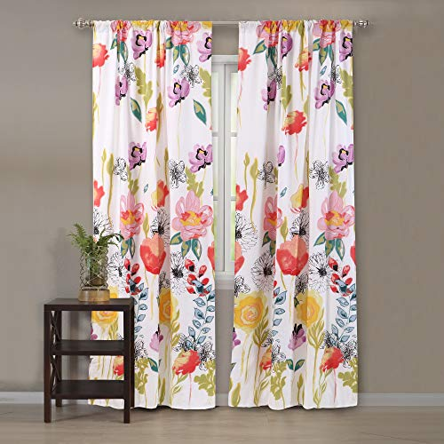 Greenland Home Watercolor Dream Curtain Panel Pair, 63-inch L, White