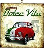 KUSTOM ART Cuadro de Estilo Vintage La Dolce Vita (Fiat 500 Tricolor) de Colección Impresión Sobre Madera de – Idea Regalo