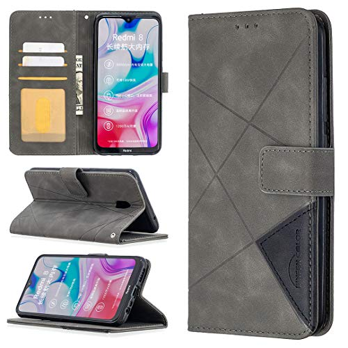 LODROC Xiaomi Redmi 8A Hülle, TPU Lederhülle Magnetische Schutzhülle [Kartenfach] [Standfunktion], Stoßfeste Tasche Kompatibel für Xiaomi Redmi 8A - LOBFE0700460 Grau