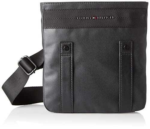 Tommy Hilfiger heren Th Coated Mini Flat Crossover laptoptas, zwart (black), 5x11x9.5 cm