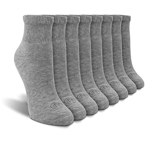 Doctor's Choice Women's Diabetic Ankle Socks, Non-Binding, Circulatory, Cushioned, 4 Pack, Grey, Shoe Size 6-10, Sock Size 9-11