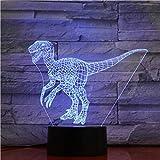 Lámpara 3D Decoración Interior Jurassic Park Dinosaur Raptors El Mejor Regalo Para Niños 7 Colores Con Control Remoto Impresionante Lámpara De Luz Nocturna Led