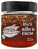 Miel con Nibs de Cacao - 100% Natural Pura de Abeja, Cruda, 300gr - Origen: El Bierzo, España