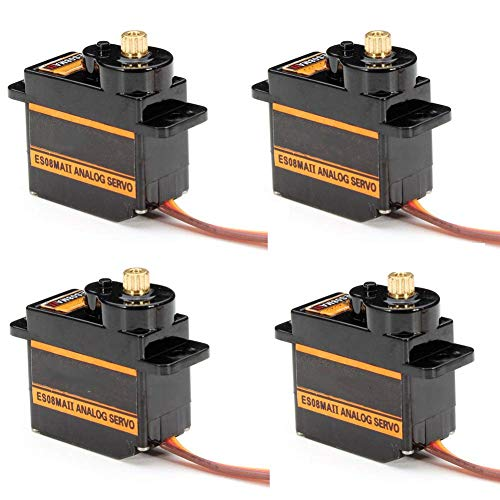 RGBZONE 4Pcs ES08MA II 12g Mini Metal Gear Analog Servo Shockproof Stable Machine Compatible for RC Model