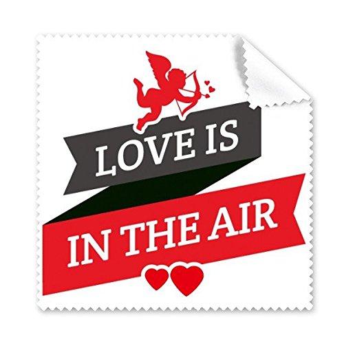 Rode en Zwarte Valentijnsdag Liefde Is In De Lucht Afbeelding met Banner Hart en Engel Illustratie Patroon Bril Doek Schoonmaken Doek Telefoon Scherm Cleaner 5 stks