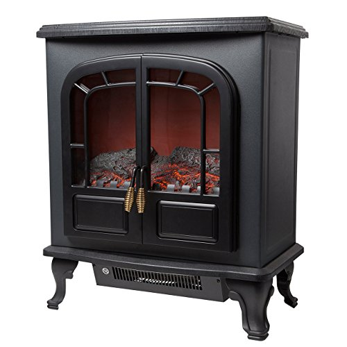 Warmlite Wingham 2-Door Portable Electric Fire Stove Heater with Realistic LED Flame Effect, Adjustable Thermostat