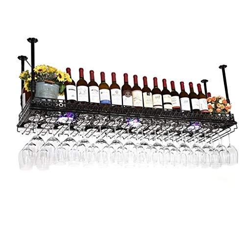 GLYYR Weinregal Wein Glashalter umgekehrt Weinregale Einfache Stil Eisen Hängende Wein Glasgestell Decken Dekoration Regal für Bars, Restaurants, Küchen (Farbe: Bronze, Größe: 120 * 35cm)