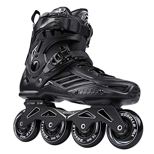 OLLT Unisex Youth Size Inline Skates, High Performance Breathable Inline Roller Skates, Comfortable Roller Blades, Outdoor Inline Blades Skates with Beginners & Advanced, Black, Size: 43
