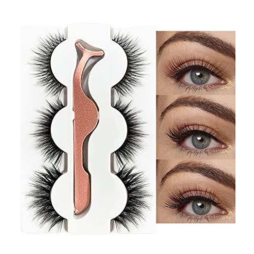 Falsche Wimpern Natürliche, 3D Fake Lashes Natural Kurze Wimpern Handgemachte Künstliche Wimpern Mit Wimpernpinzette für das tägliche Make-up Dating, Party(3 paare)