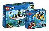Collectix Lego City 60221 - Juego de yate de buceo y minisubmarino 60263 para exploradores marinos