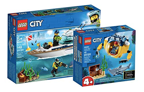 Collectix Lego City - Set: 60221 Tauchyacht + 60263 Mini-U-Boot für Meeresforscher