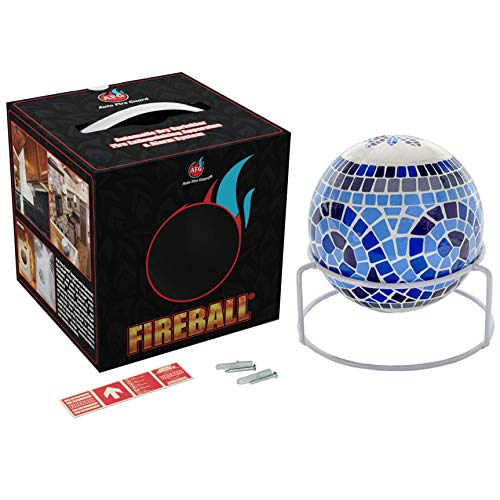 AFG Fireball-Fire Extinguisher Ball: Modern Design, Decorative, Automatic Fire Extinguisher, with Mount, Adhesive Glow-in-The-Dark Sign and User Manual