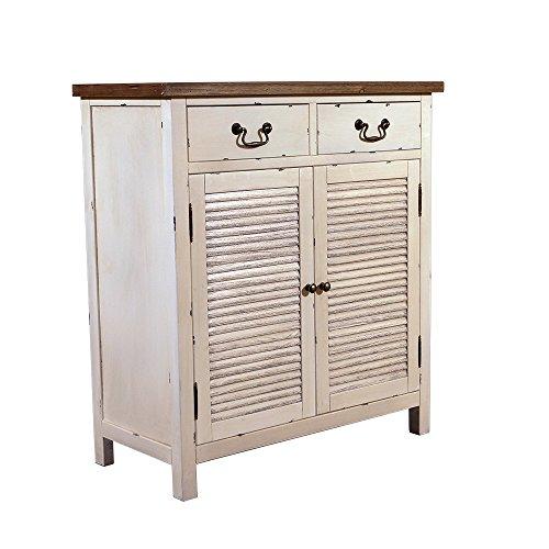 Landhausmöbel - Kommode Bretagne - Landhaus Schrank - Holz Vintage Look Creme weiß