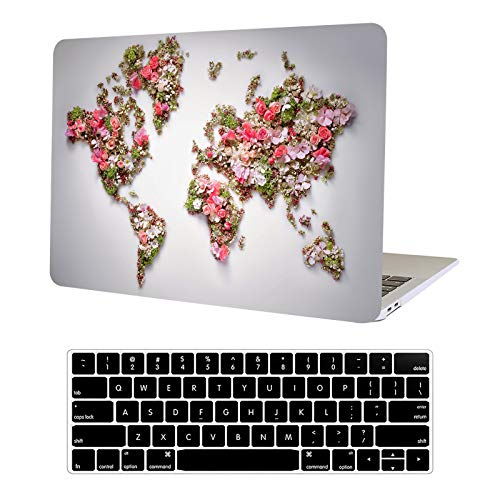 Funut MacBook Pro 13 Inch Case 2015 2014 2013 end 2012 Model A1425/A1502 Ultra Thin Plastic Laptop Hard Shell Cover Protective Case +Keyboard Cover for MacBook Pro 13' Retina Non CD ROM,Flower map