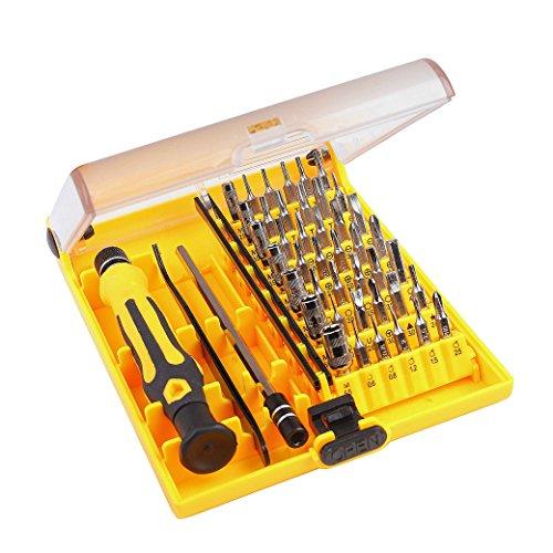 Juego de Destornilladores, Set de Destornillador 45in 1 Kit de Herramientas con Pinzas y eje de Extensión para Teléfonos PC Dispositivos Electrónicos de Mantenimiento Electrónico