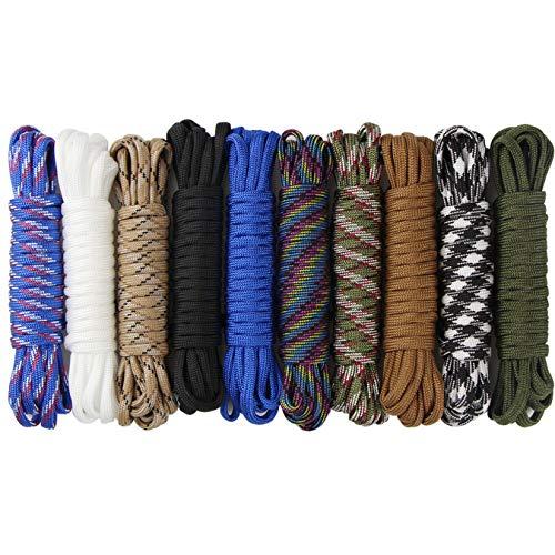aufodara 10er Paracord Armband Schnüre Fallschirmschnur Survival 7 Strängen Nylon Seil DIY Handgemachte Webart für Armband Schlüsselanhänger Anhänger und Outdoor Aktivitäten (10er x 10ft)