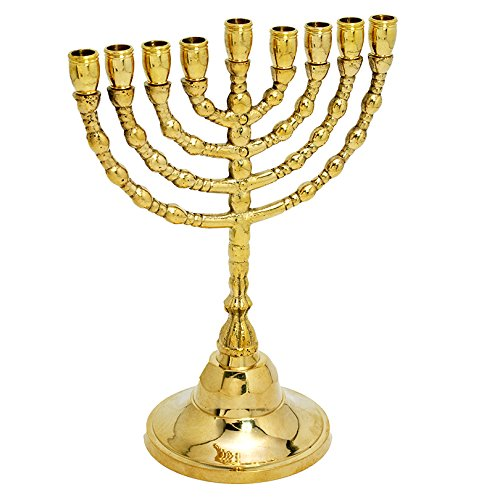 Brass / Copper Massiveh 9 Branch Hanukkah - Menorah CHANUKIA , 7 Inch Height Hand Made Judaica Jewish Israel Art
