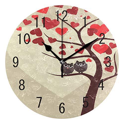 Use7 Home Decor Runde Wanduhr, Eulenpaar auf AST sitzend, Acryl, Nicht tickend, geräuschlose Uhr, Kunst für Wohnzimmer, Küche, Schlafzimmer