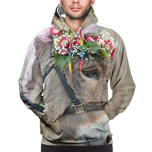 Men'S Hoodie Pullover 3d Cute Donkey With Garlands Colorful Drawstring Sweatshirt With Pockets Black