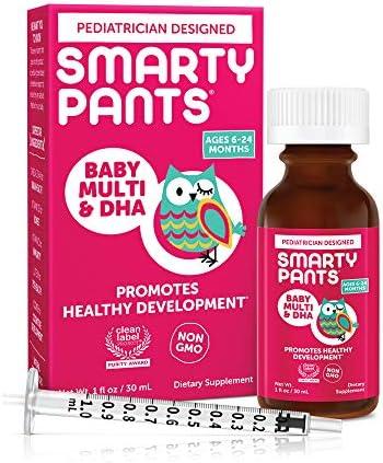 SmartyPants Baby Multi DHA Liquid Multivitamin Vitamin C D3 E Gluten Free Choline Lutein for product image